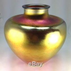 Elegant Large Art Deco Steuben Aurene Gold Iridescent Vase By Frederick Carder