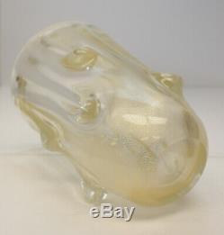 Ercole Barovier Gold Fleck Art Glass Molten Drip Texture Vase, circa 1970