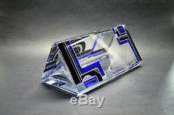 Exquisite Czech Art Deco Clear Crystal Glass Black Blue Enamel Vase Karl Palda