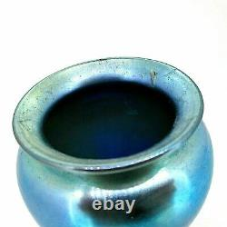 Exquisite Early 20th C. Steuben Aurene Blue Iridescent Art Glass Vase Signed