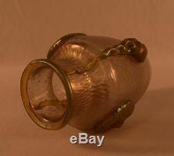 Exquisite Rare Loetz Art Glass Irridescent Gold Nautilus Vase