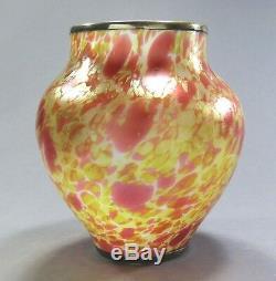 FRITZ HECKERT Art Glass MORMOPAL Vase Sterling Silver Overlay ca. 1902 Loetz Era