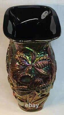Fenton Art Glass Black Carnival Vase With Raised Orchid Design
