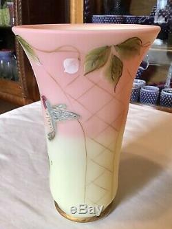 Fenton Art Glass Burmese Humming Bird Vase