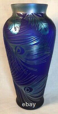 Fenton Art Glass Cameo Peacock Feathers On Favrene Kelsey Murphy LIMITED