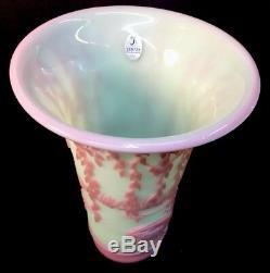 Fenton Art Glass DESIGNER PROOF Graceful Beauty On Green Burmese Vase