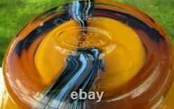 Fenton Art Glass Dave Fetty 07 OOAK Honey Amber-Black Applique Vase 9.5H (2)