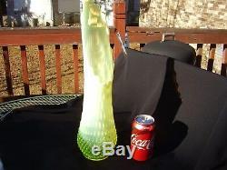 Fenton Art Glass Hobnail Topaz Vaseline Opalescent 17.5 in. Swung Vase