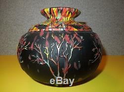 Fenton Art Glass Trees on Mosaic Black Vase #9/75 by Kelsey Murphy and Bomkamp