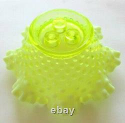 Fenton Vaseline Hobnail Opalescent Art Glass Flower Epergne Vase USA