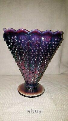 Fenton art glass Plum Opalescent Hobnail Fan Vase