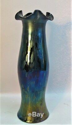 Fine 11 Antique KRALIK BOHEMIAN Iridized Art Glass Vase with Oil Spots c. 1920