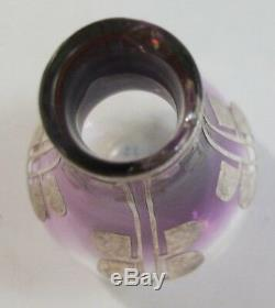Fine ART NOUVEAU Silver Overlay Miniature Glass Vase c. 1900 Clear to Purple