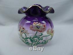 Fine Antique Legras Mont Joye Amethyst Enamel Poppy French Art Glass Vase