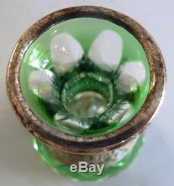 Fine MOSER ART NOUVEAU Silver Overlay Miniature Glass Vase c. 1900 Cut Crystal