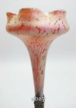 Fine Red KRALIK Loetz Style Iridescent Art Glass Epergne Vase c. 1910 antique
