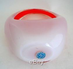 Fratelli Toso Murano Opalino Opalescent Red Orange Art Glass Handled Basket Vase