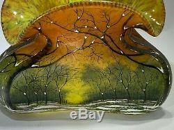 French Art Nouveau Winter Landscape Ruffled Scalloped Vase by Daum Nancy