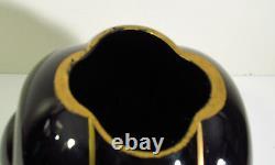 GEORGE SAKIER DESIGN FOR FOSTORIA GLASS #2404 ART DECO VASE EBONY BLACK WithGOLD