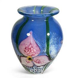GORGEOUS COMPLEX 2002 ROBERT EICKHOLT STUDIO ART GLASS VASE BLUE With PINK FLOWERS