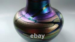 GORGEOUS Iridescent ART VASE Hand Blown by Jim Norton Canadian Glass Artist