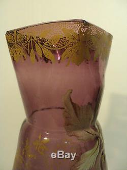 GORGEOUS MONT JOYE FRENCH ART GLASS VASE with HEAVY ENAMELED DECORATION, c. 1900