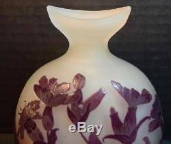Galle Cameo Art Glass Cabinet Vase with Flowers
