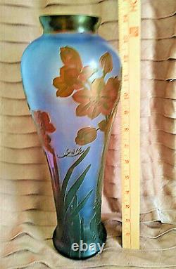 Galle Signed Vase Art Nouveau Inspired Blue Glass Acid Etched Embossed Cameo 14
