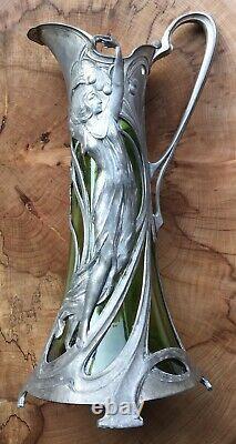 German WMF Art Nouveau Pewter Glass Lined Wine Ewer Claret Jug Vase Circa 1905