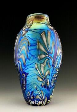 Glamorous Art Nouveau Jugendstil Iridescent Glass Bohemian Vase 10 1/2'