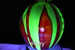 Glass WILHELM KRALIK Bambus Vase Art Deco Bohemian Vaseline Red Orange Bamboo
