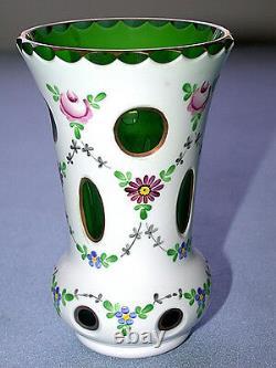 Gorgeous Antique Czechoslovakia MOSER Cut White to Green Art Glass Vase