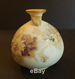 Gorgeous Mt. Washington Crown Milano Art Glass Vase, Pansy Design, Mint