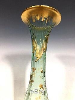 Gorgeous! Vintage Moser Green Art Glass Vase Gilt Enamel 11 1/2H
