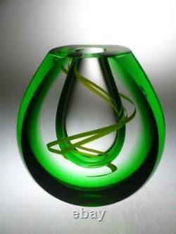 Green cut glass vase Czech art glass Designer vase Bohemian