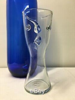 HTF Mid Century Modern Blenko Clear Art Glass Face Vase. MCM