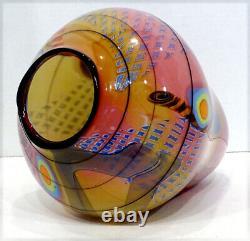 HUGE! Signed WES HUNTING Studio Art Glass COLORFIELD Vase Sculpture / STUNNING