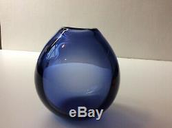 Holmegaard Per Lutken Sapphire Drop Vase MCM Glass 15469 Art Bulbous Vintage 50s