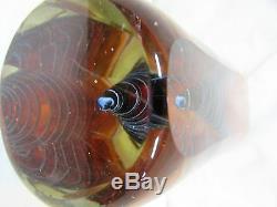 Huge Heavy Murano Studio Art Glass Vase Faceted Spiral Modernist Italian Artist
