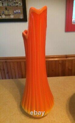 Huge Mid-century Modern L. E Smith Art Viking Glass Slag Vase Bittersweet Orange