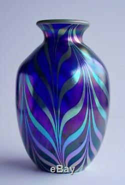 Iridescent Art Glass Vase Cobalt Fenton Design Dave Fetty Limited Edition 9 H
