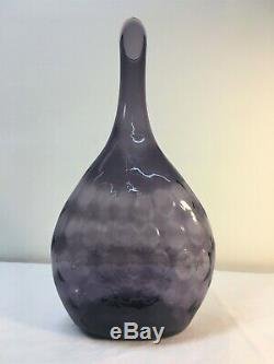 JP Myers Textcuered Amethys Blenko Vase Bottle. Art Glass MCM