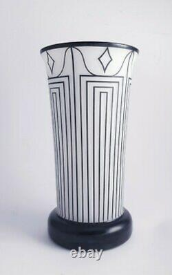 Jugendstil Josef Hoffmann Wiener Werkstätte Vase Glass Überfang Art Deco
