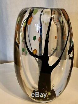 KOSTA BODA VICKE LINDSTRAND LU VINTAGE MCM AUTUMN TREE LEAVES ART GLASS VASE 50s