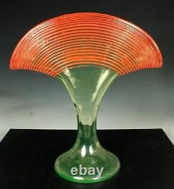 KRALIK CZECH FAN VASE Green URANIUM Glass & Orange Threading 1920s-30s ART DECO