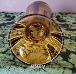 Karl Palda Art Deco Era Czech Amber Black Frosted Etched Gorgeous 1 of 1 Vase