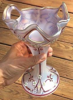 Kralik Czech Iridescent Art Glass Enameled Vase