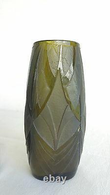 LEGRAS Paire de VASES debut XXe Signe Grave Acide Vase Soliflore Glass ART DECO