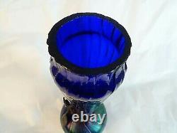 LOETZ Art Nouveau Glass BLUE Iridescent Bohemian Veined Cattail Bronze VASE