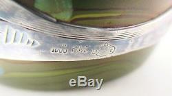LOETZ CYTISUS Metallic Lemon Yellow Art Glass Vase Alvin Sterling Overlay 7 T